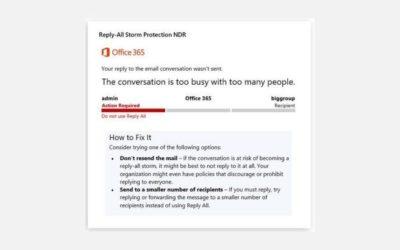 Office 365 se protège contre les tempêtes de mails générées par l'option «Répondre à tous»